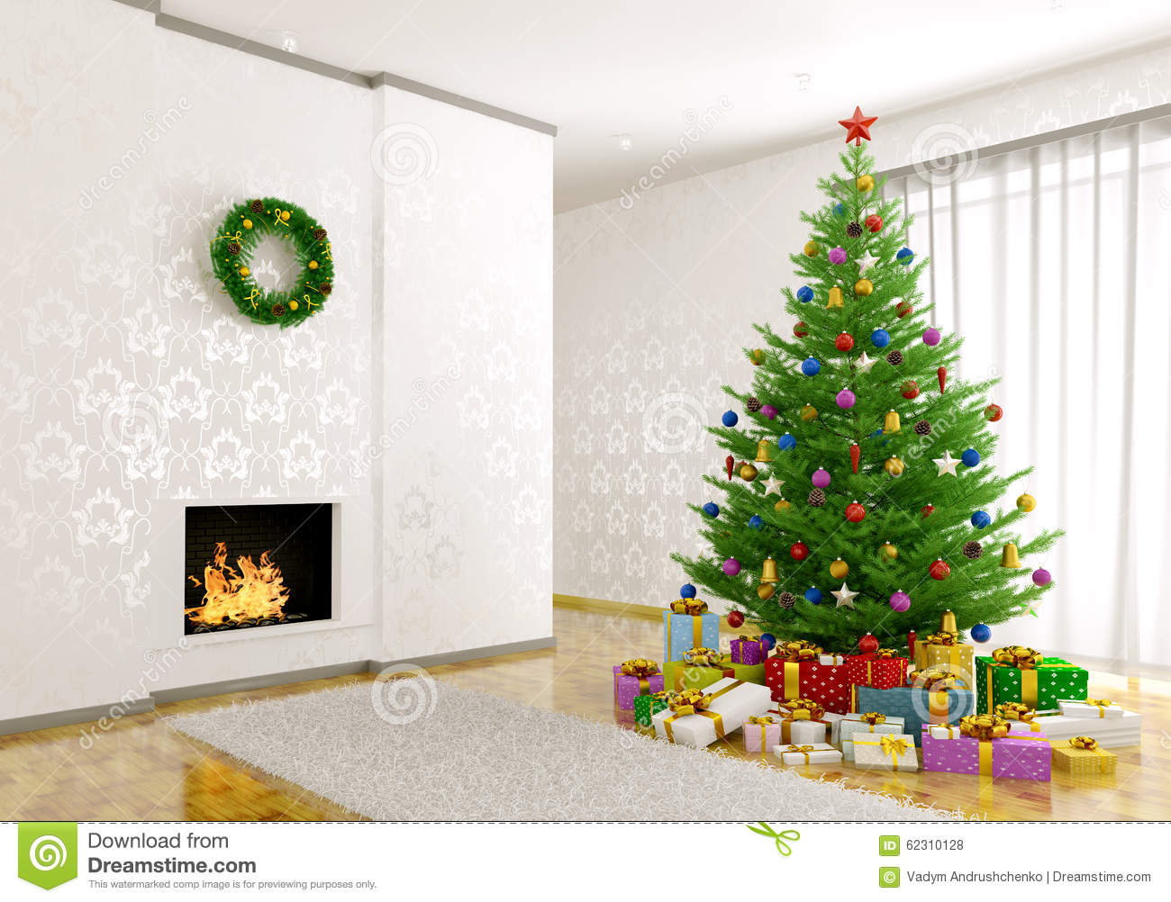 Christmas tree in living room interior 3d royalty free stock image 16910548 for Christmas tree in the living room