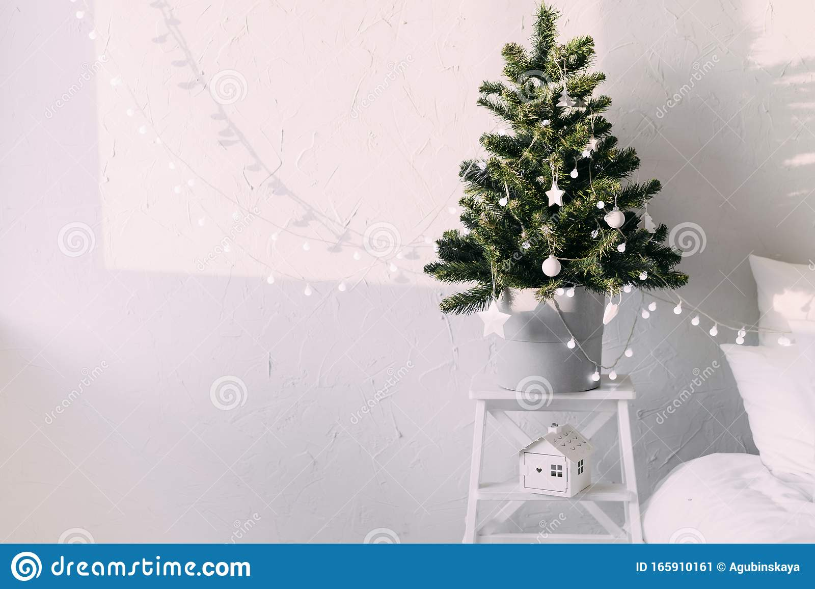 Interior Living Room With A Christmas Tree And Decorations Stock Image Image Of Interior Holiday 165910161