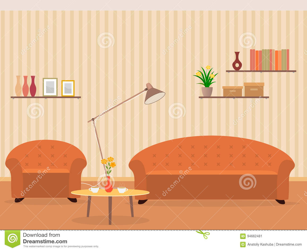 Interior of living room design in flat style with furniture, armchair, sofa, lamp, bookshelf and flowers on a table.