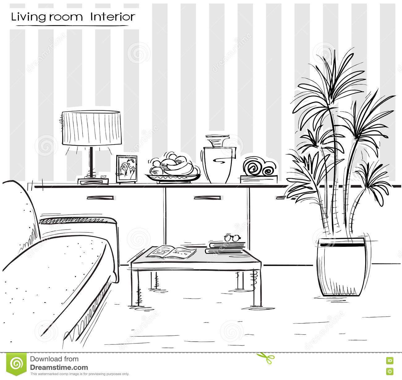 Living room drawing design - Interior Of Living Room Design Vector Black Hand Drawing Illust