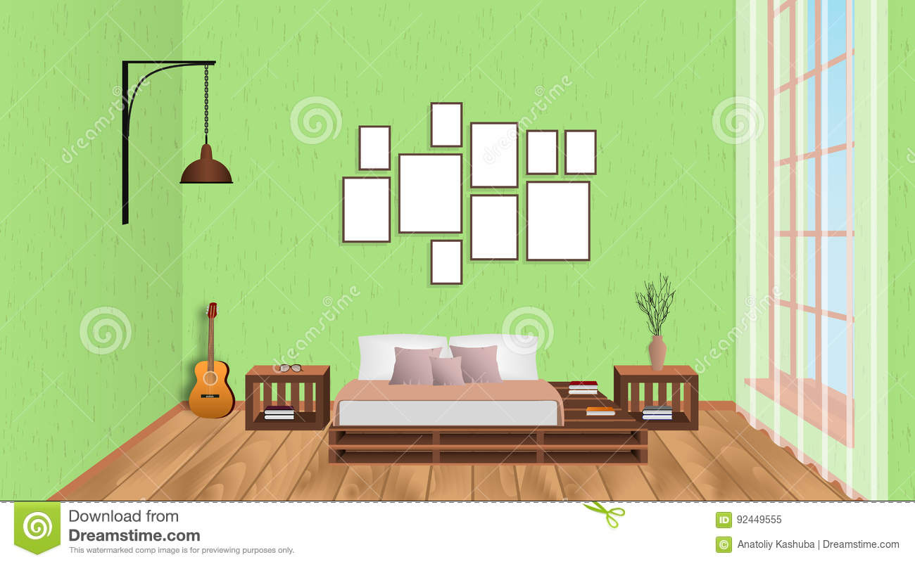 Interior Design Drawing Room Furniture ~ Interior of living room with empty frames guitar wood