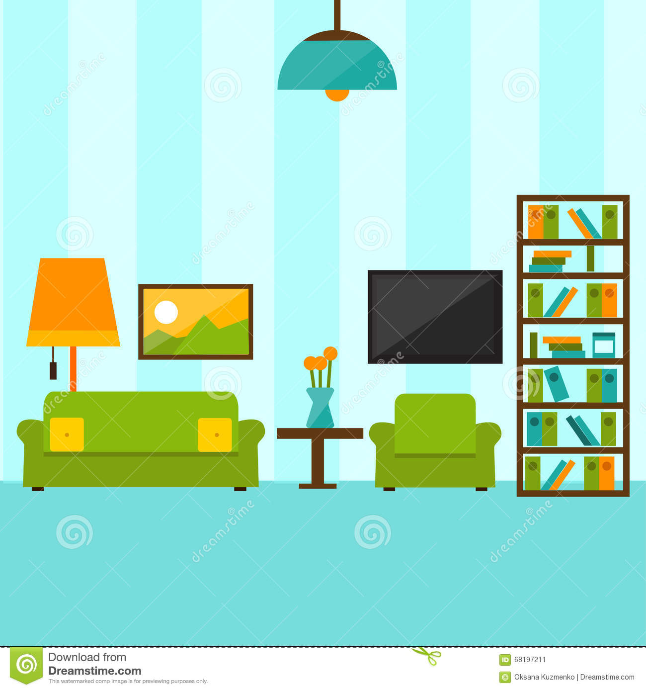 Apartment Blue Book: Flat Style Vector Illustration