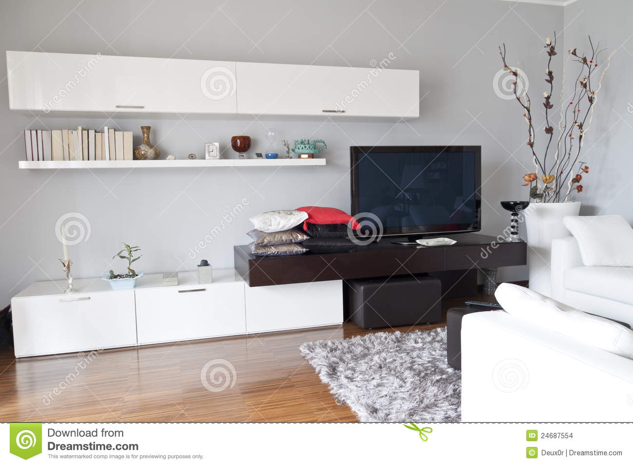 White Furniture Living Room Decorating Interior Of A Living Room Flat Tv White Furniture Stock Images