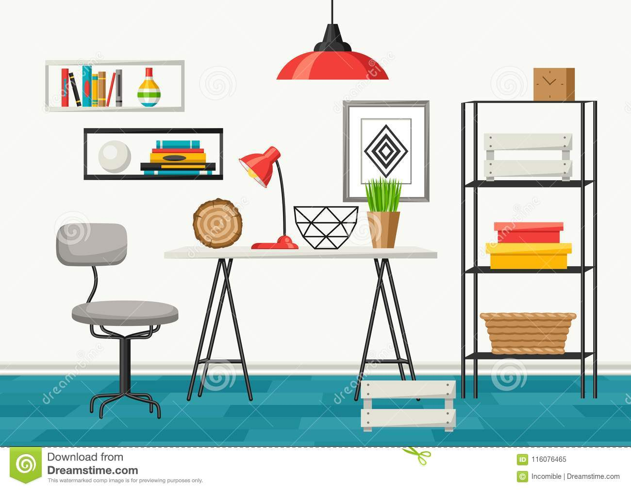 Interior Living Room Furniture And Home Decor Stock Vector
