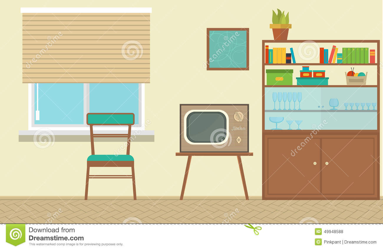 Interior of a living room with furniture vintage room for Room design vector