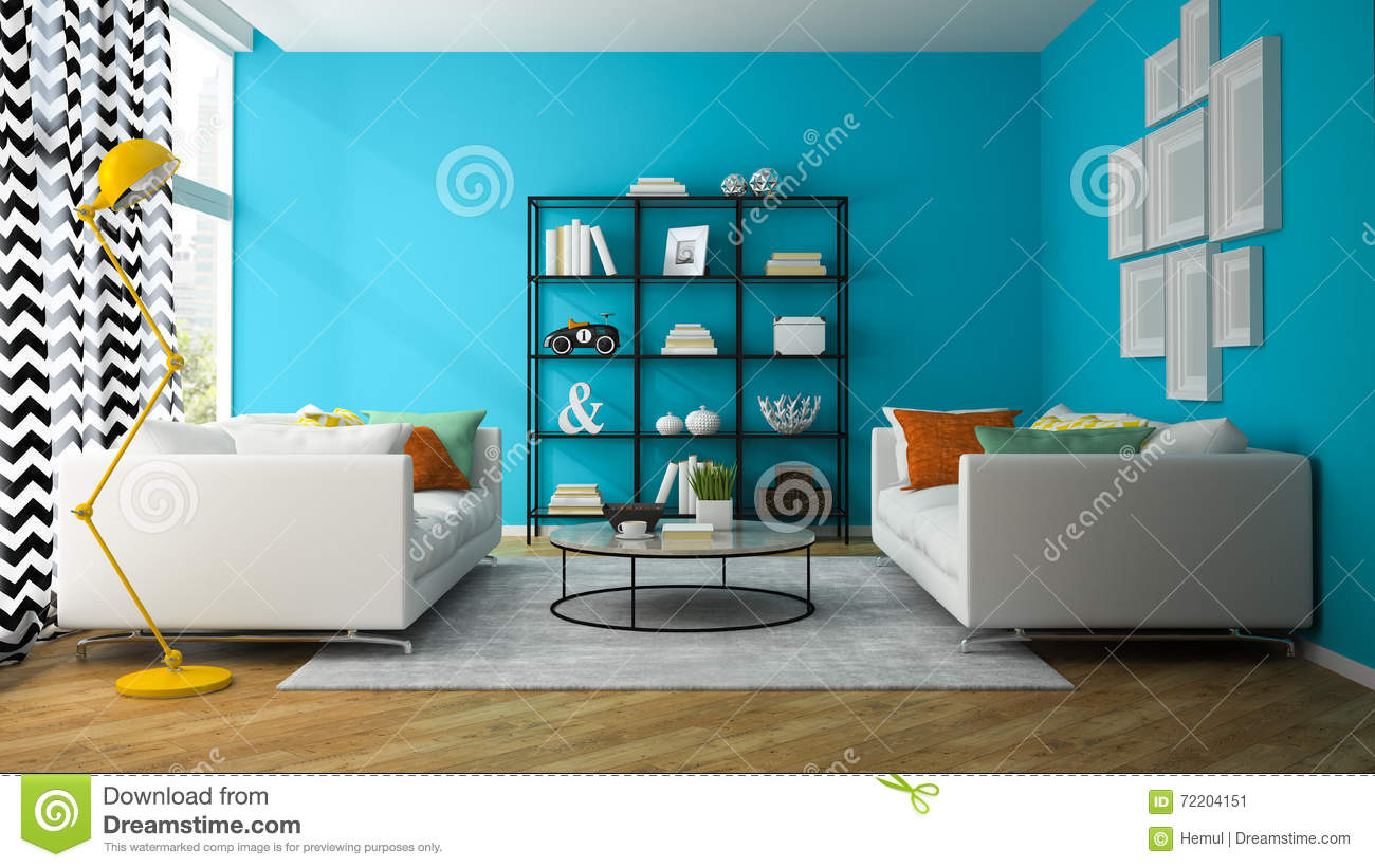 Interior Of Living Room With Glass Shelf 3D Rendering Stock ...