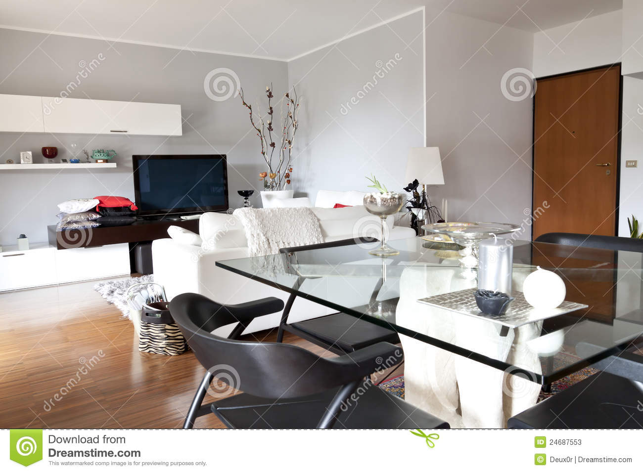 Interior of a living room glass table and tv stock image for Deco table sejour