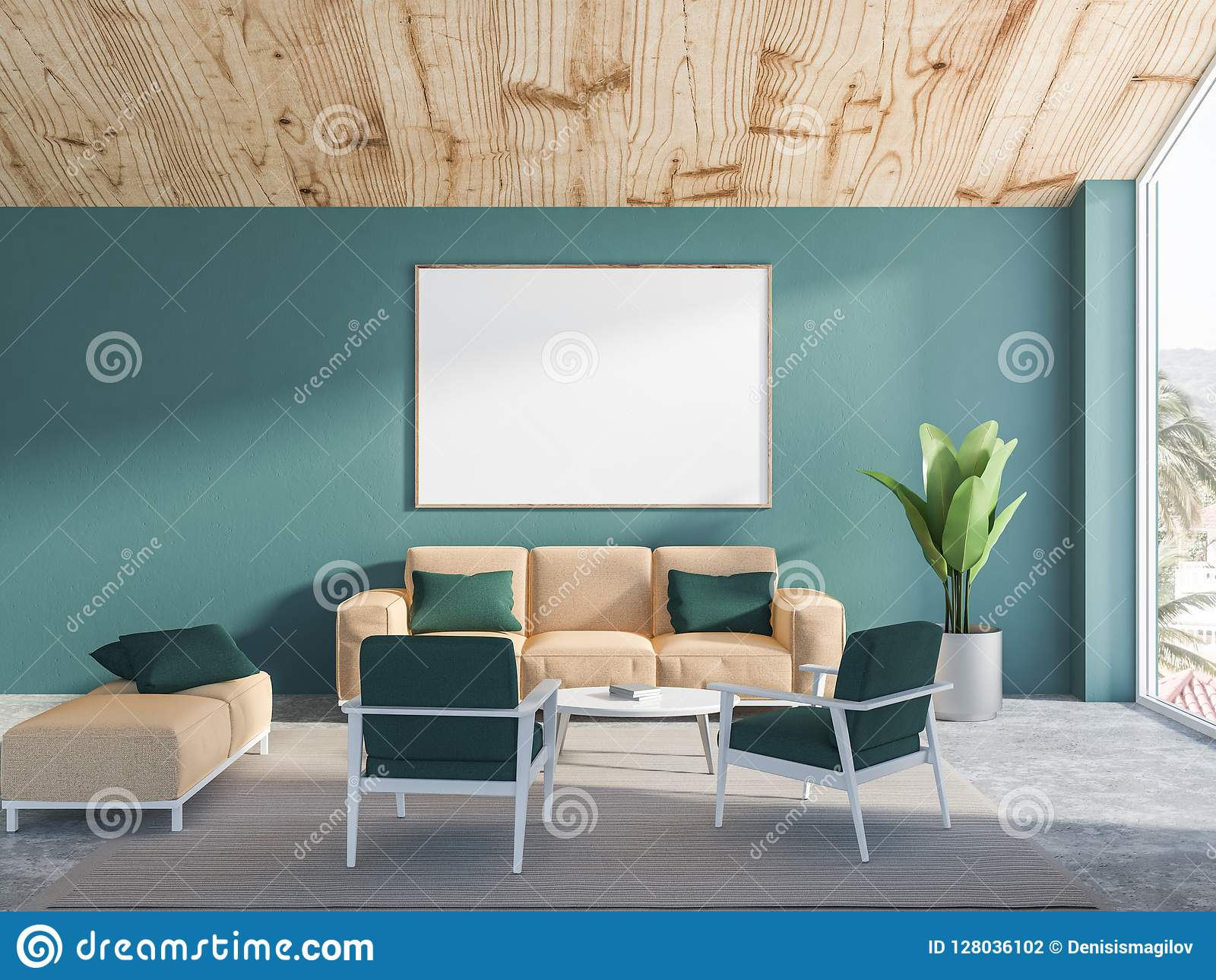 Green Living Room Interior Beige Sofa Poster Stock Illustration Illustration Of Mock Lounge 128036102