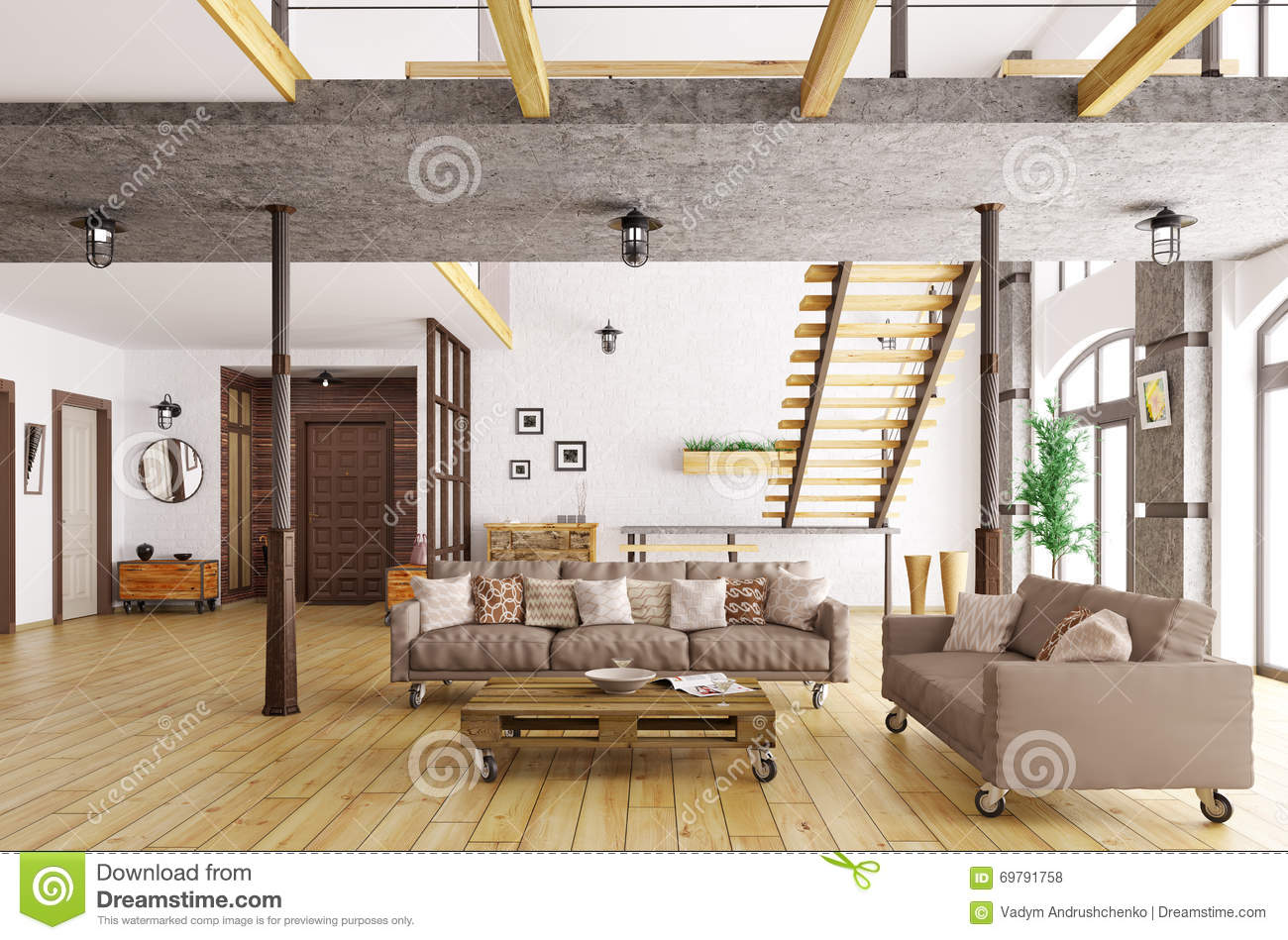Interior of living room and hall 3d rendering stock for Living hall interior