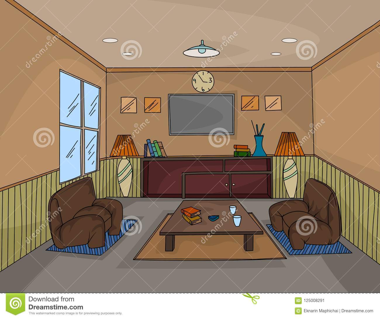 Interior Living Room Hand Drawing Colors Scene Stock Vector