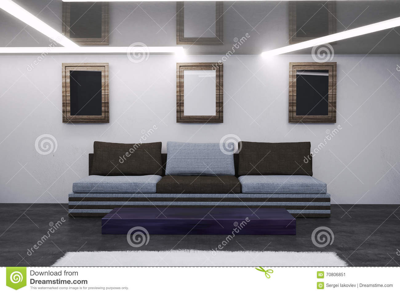 The Interior Of The Living Room In Hi Tech Style Stock