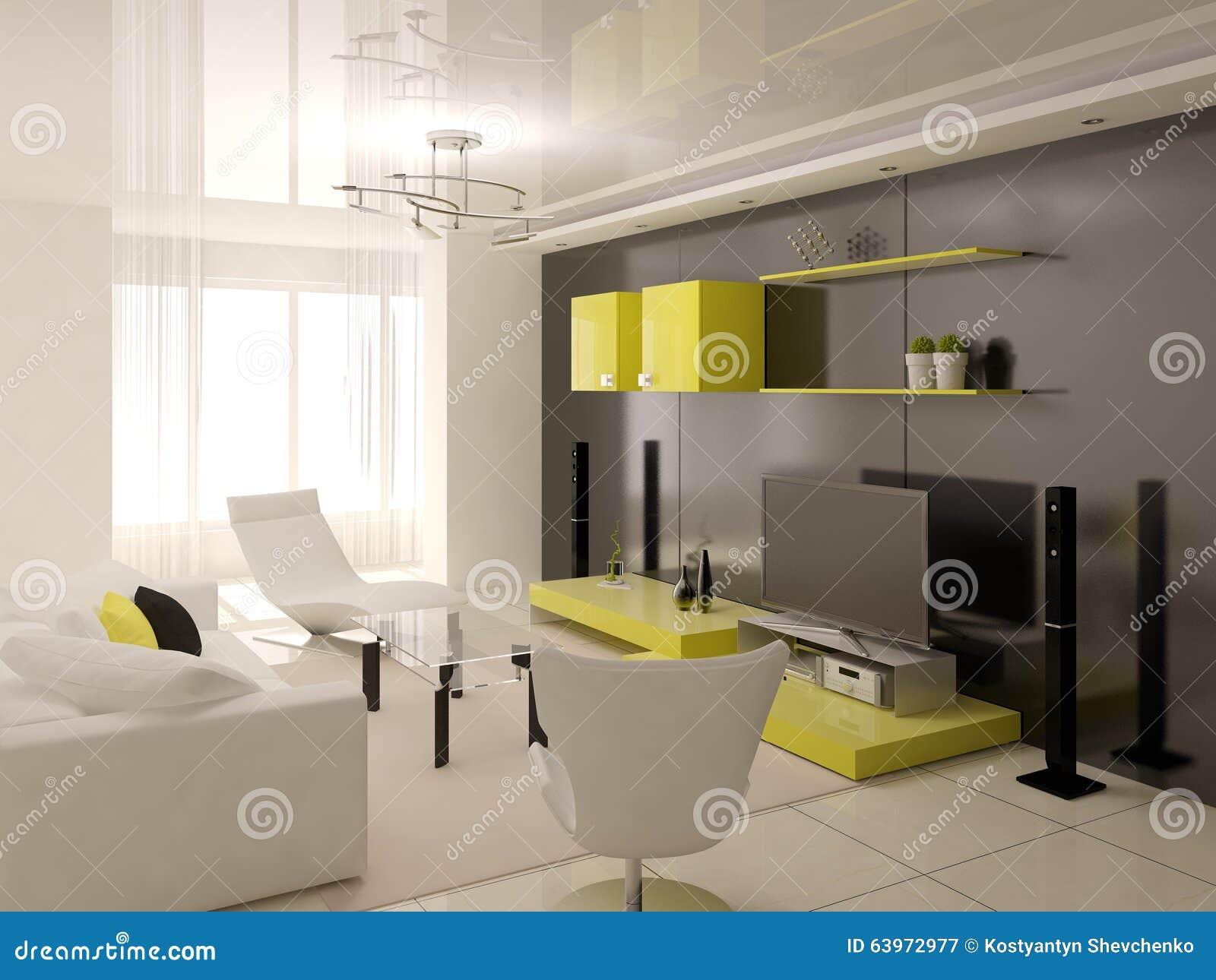 Interior of living room stock illustration image 63972977 for Hi tech living room designs