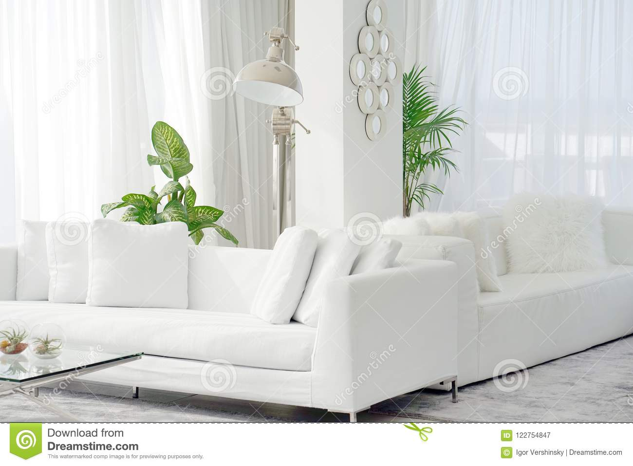 White room with sofa. stock image. Image of house, contemporary ...