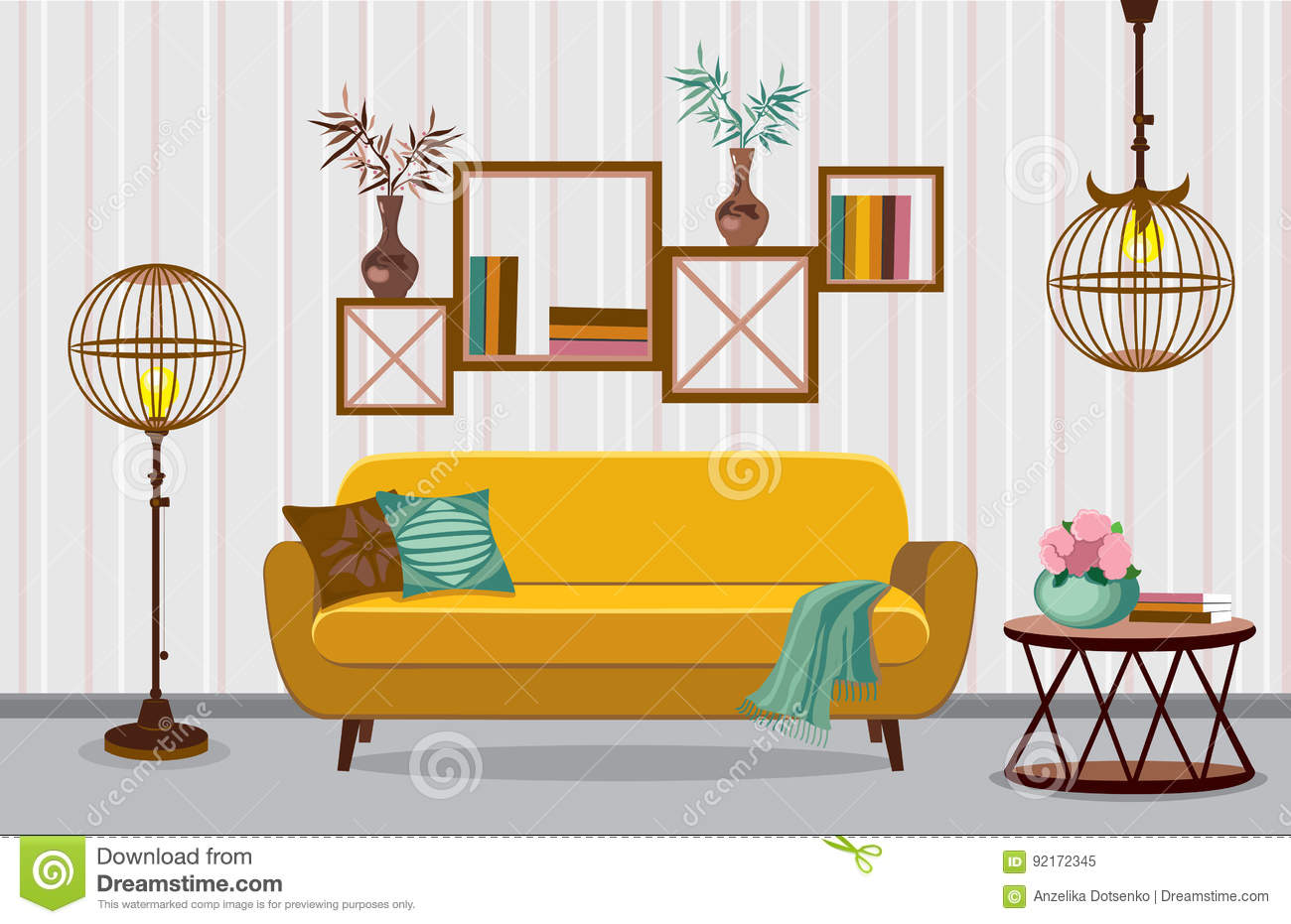 Download Interior Living Room. Illustration In Flat Design With Shadows  Stock Vector   Illustration Of