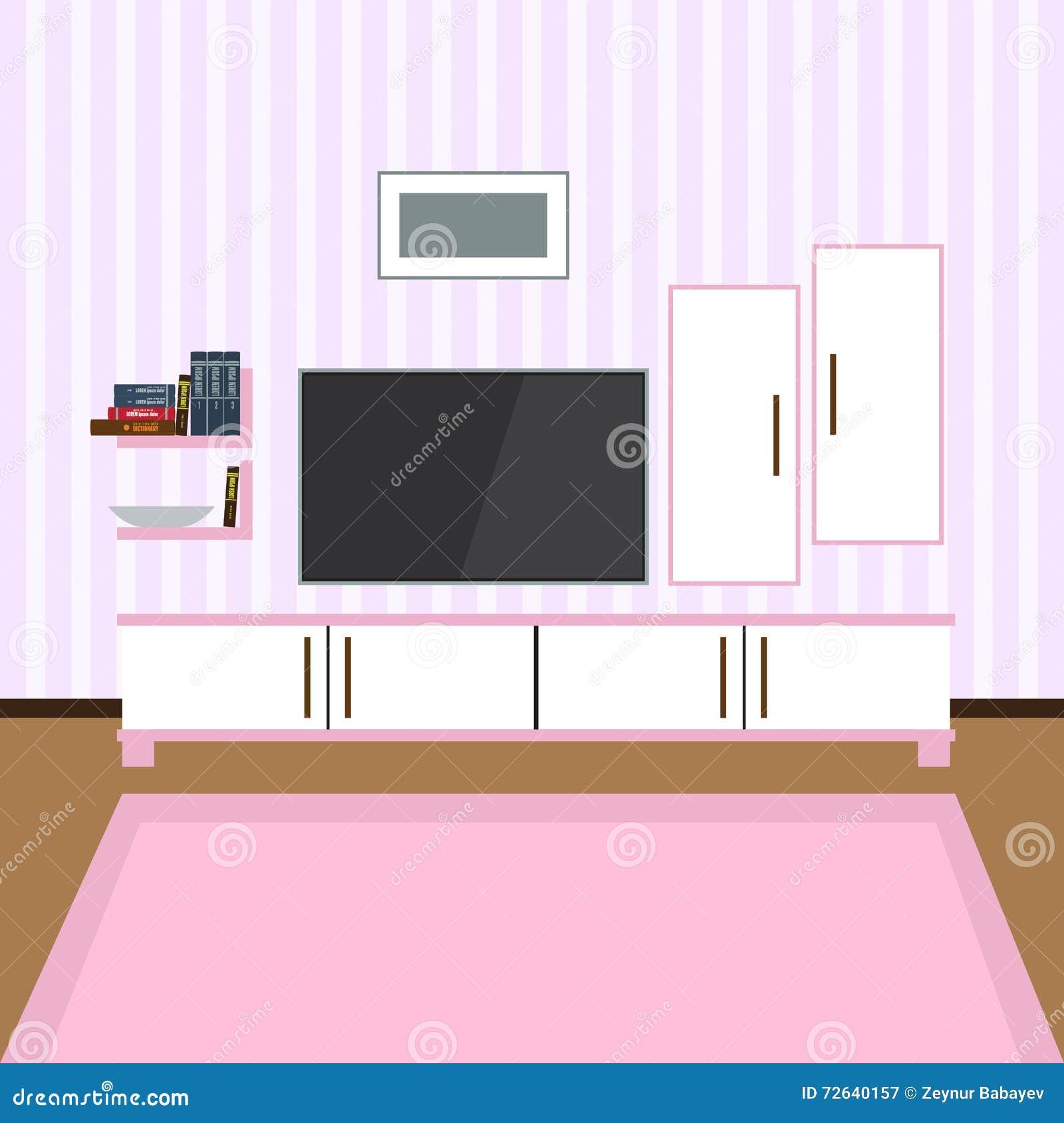 Living room interior modern flat design illustration for Modern flat interior