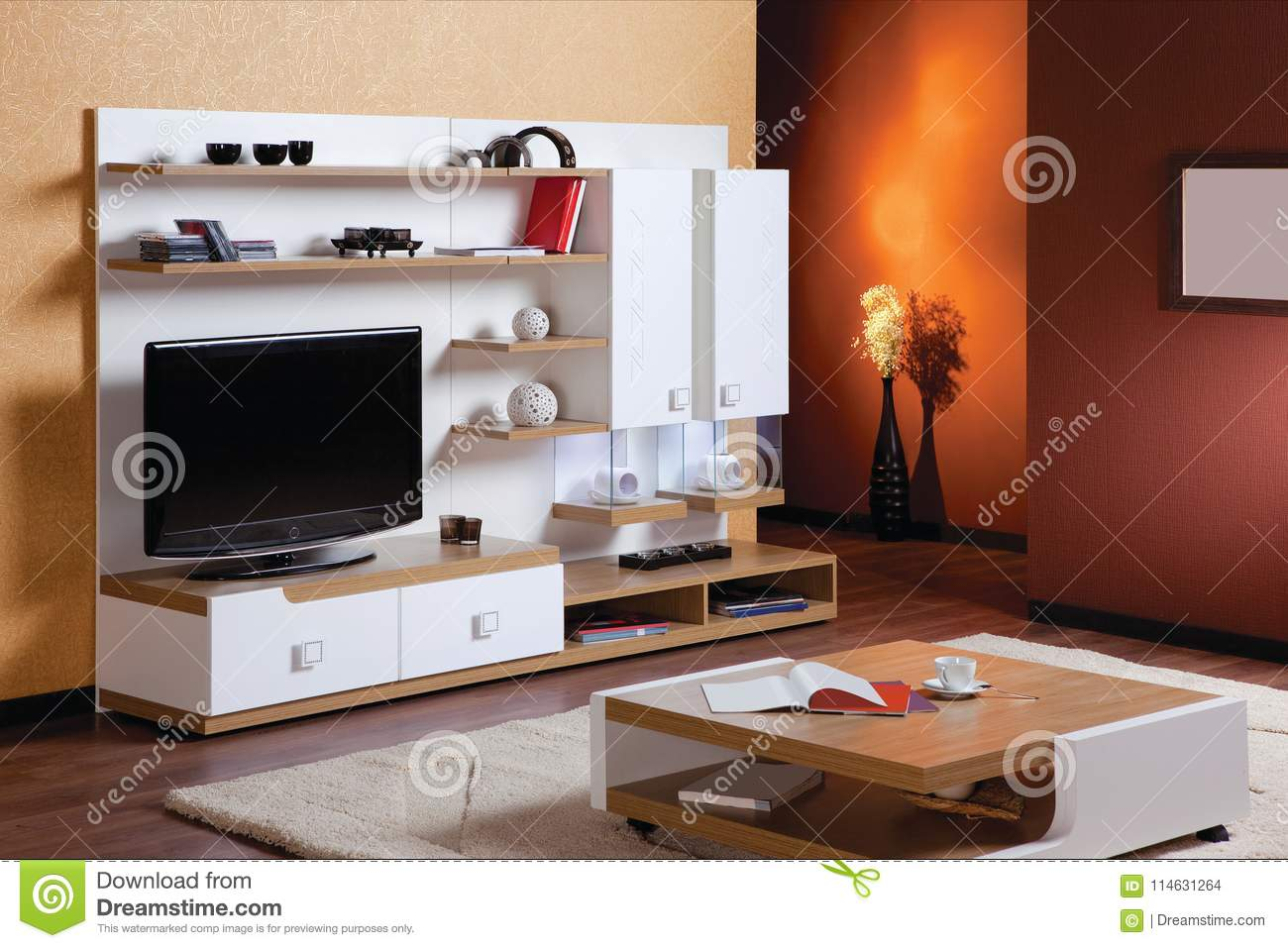 Living Room With Tv Stand Stock Photo Image Of Unit 114631264