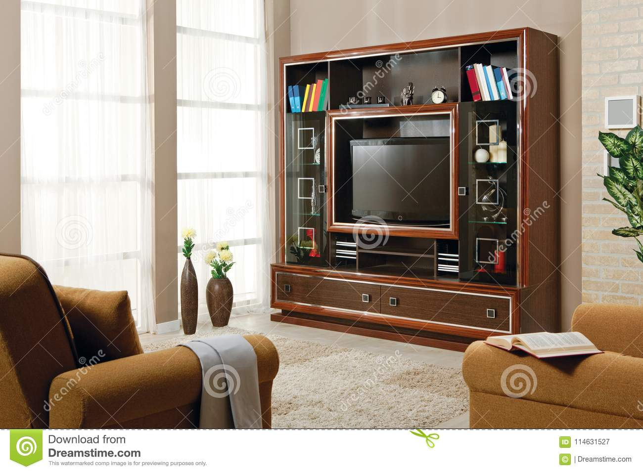Living Room With Tv Stand Stock Image Image Of Wood 114631527