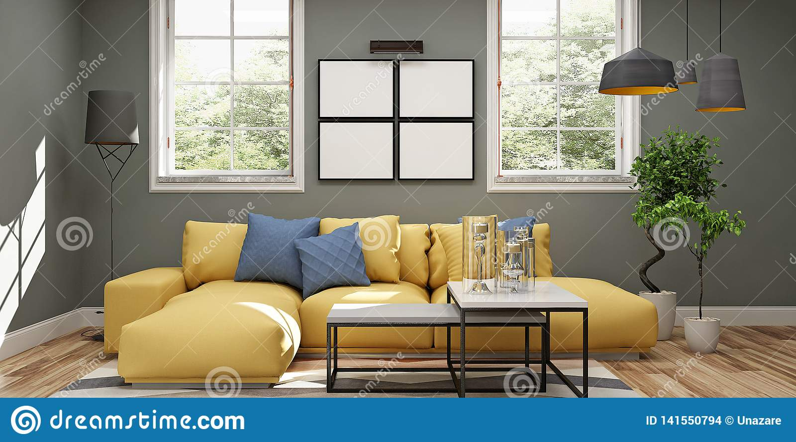 Modern Interior Of Living Room With Kitchen In Brown And Yellow