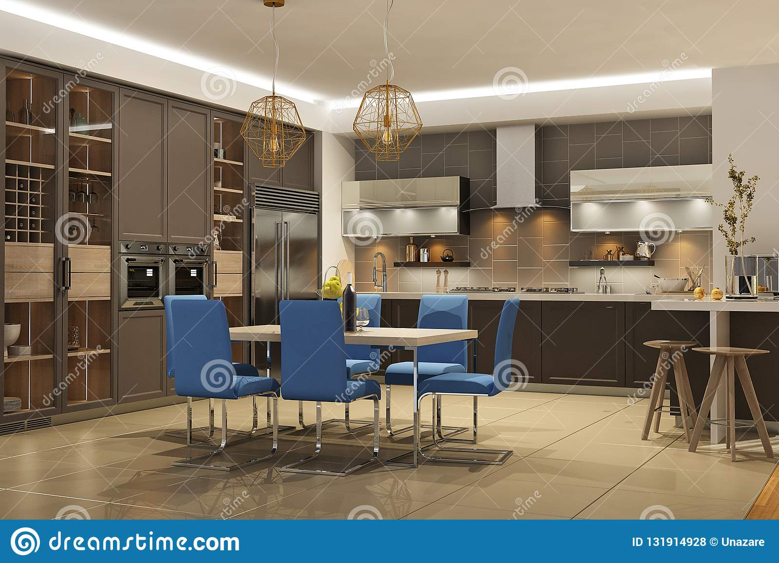 Modern Style Interior Of Living Room With The Kitchen In