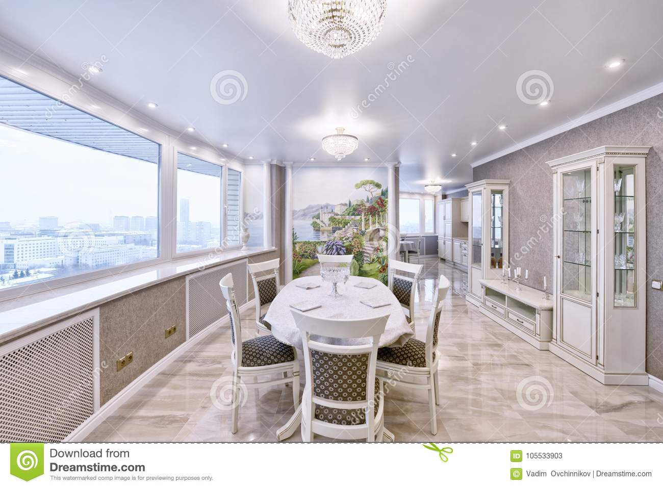 The interiors are new and modern apartment in light tones with designer renovation