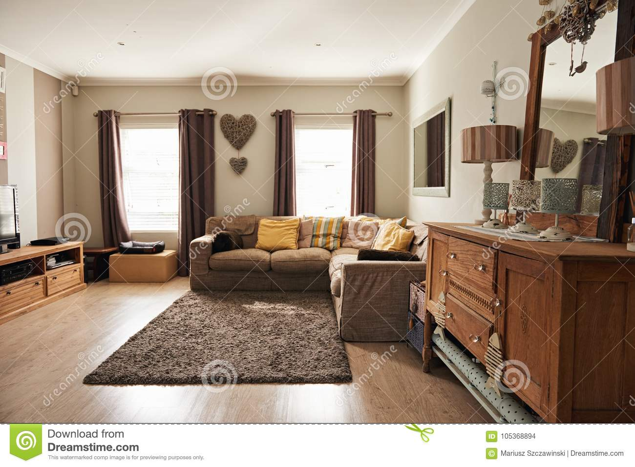 Interior Of The Living Room Of A Suburban Home Stock Photo Image