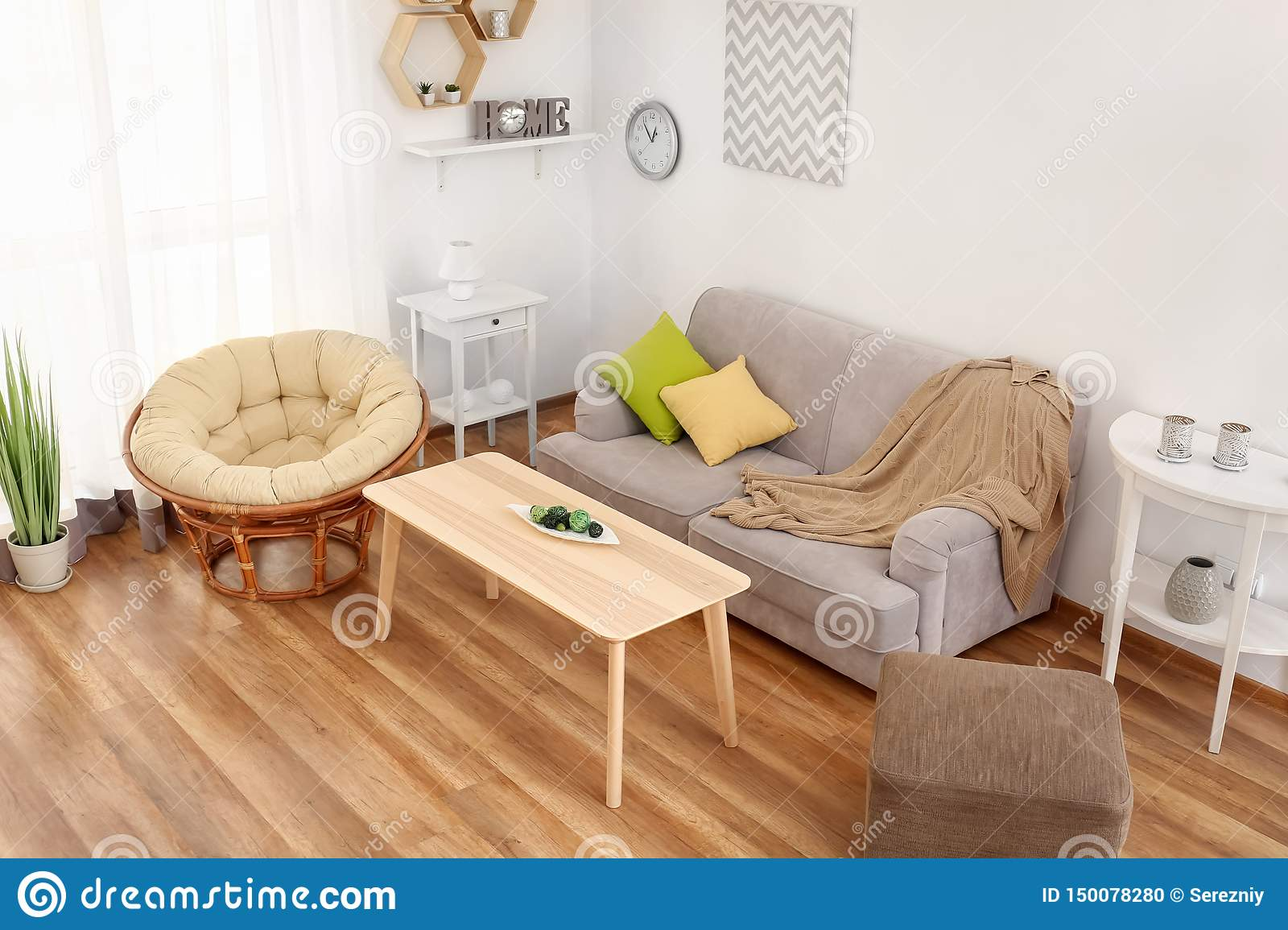 Interior of living room, view from CCTV camera