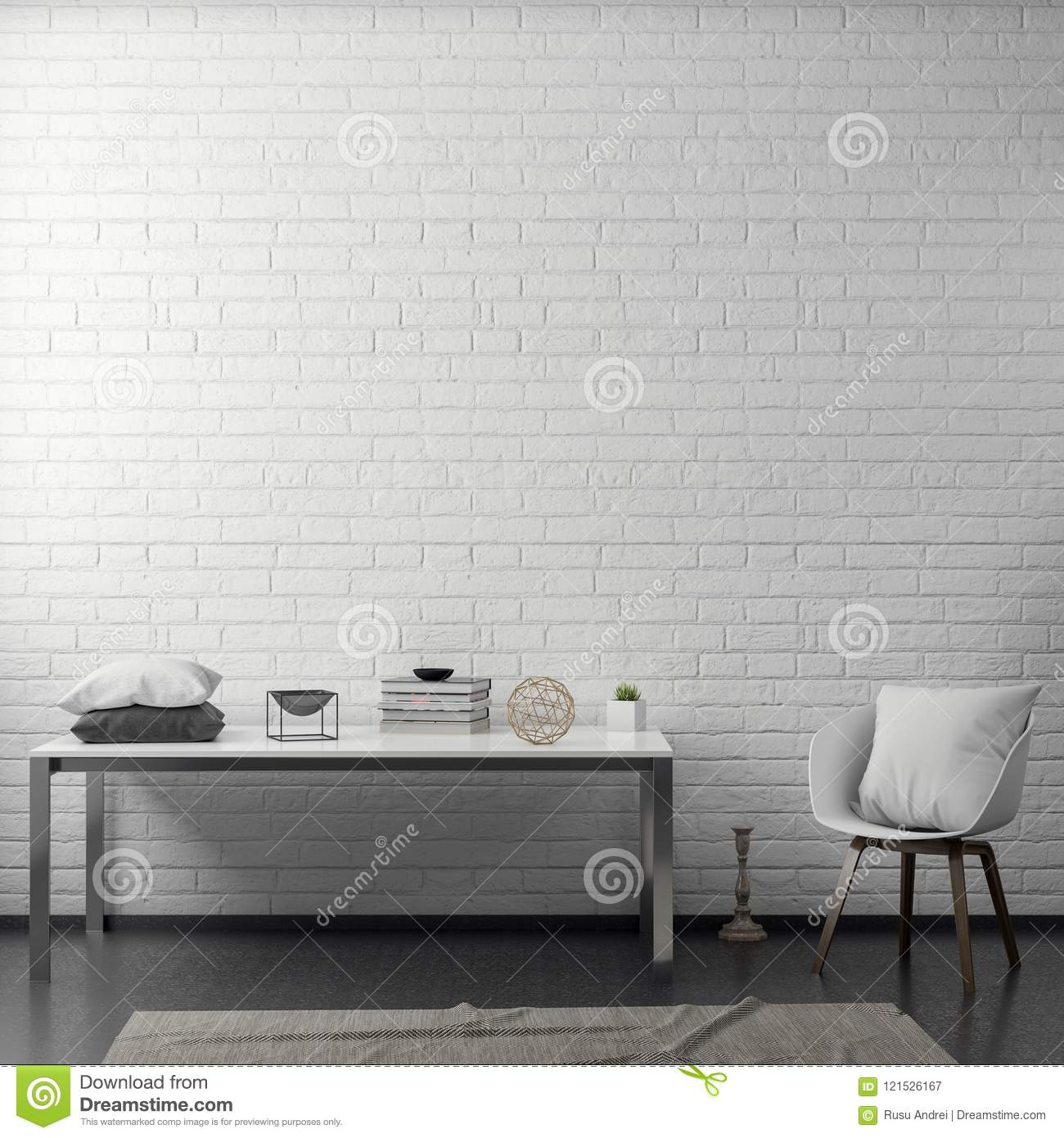 Interior Of Living Room With White Brick Wall, 3D Rendering Stock ...