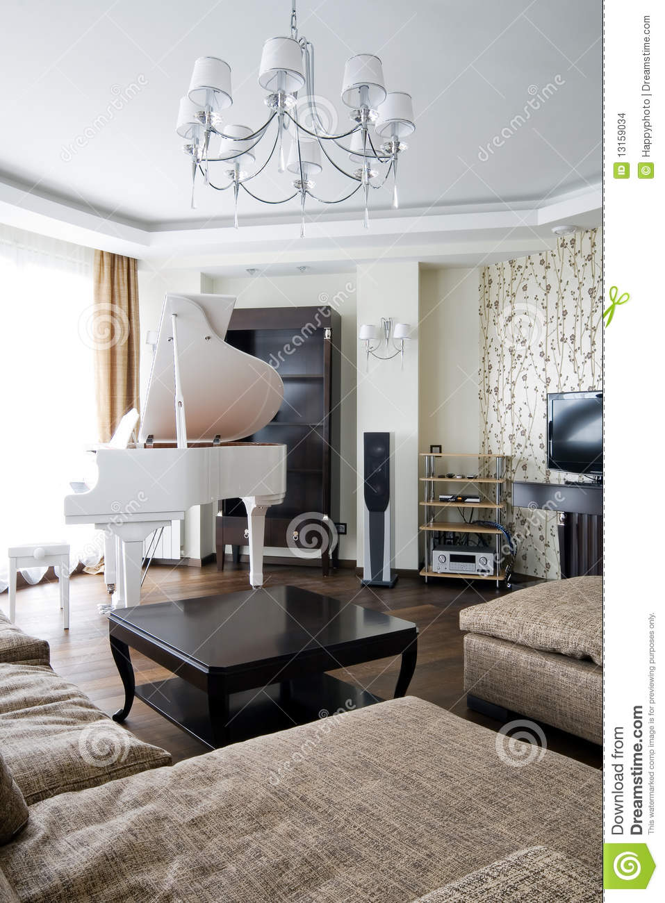Interior Of Living Room With White Piano Stock Photo