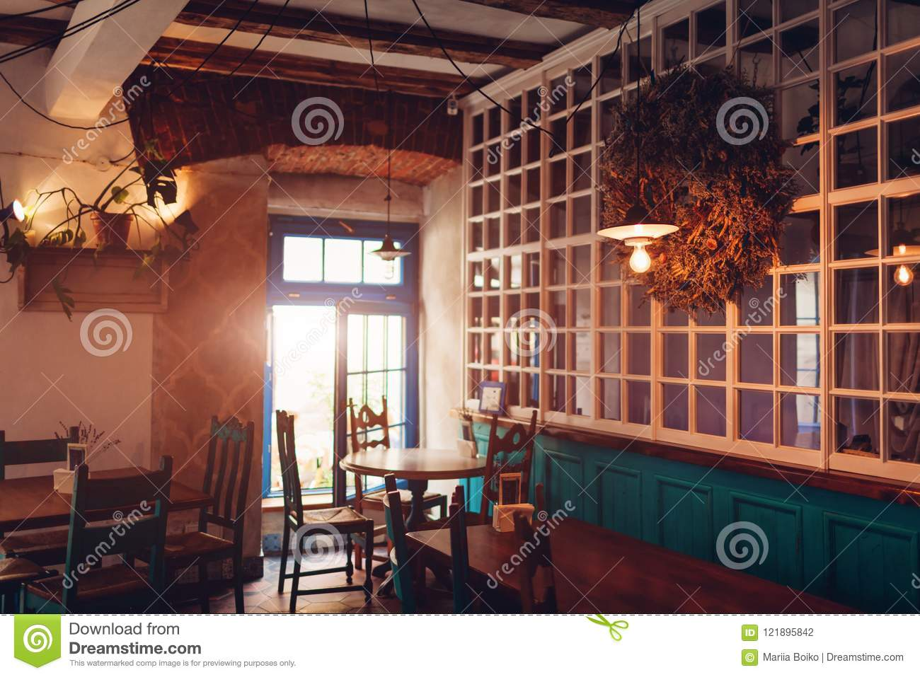 Interior Of Loft Bar Vintage Design Of Cafe Retro Style Restautant Stock Photo Image Of Lamp Brown 121895842