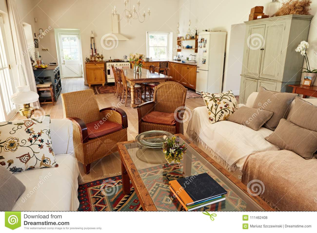 Interior Of The Lounge And Kitchen In A Country Home Stock Photo Image Of Interior Background 111462408