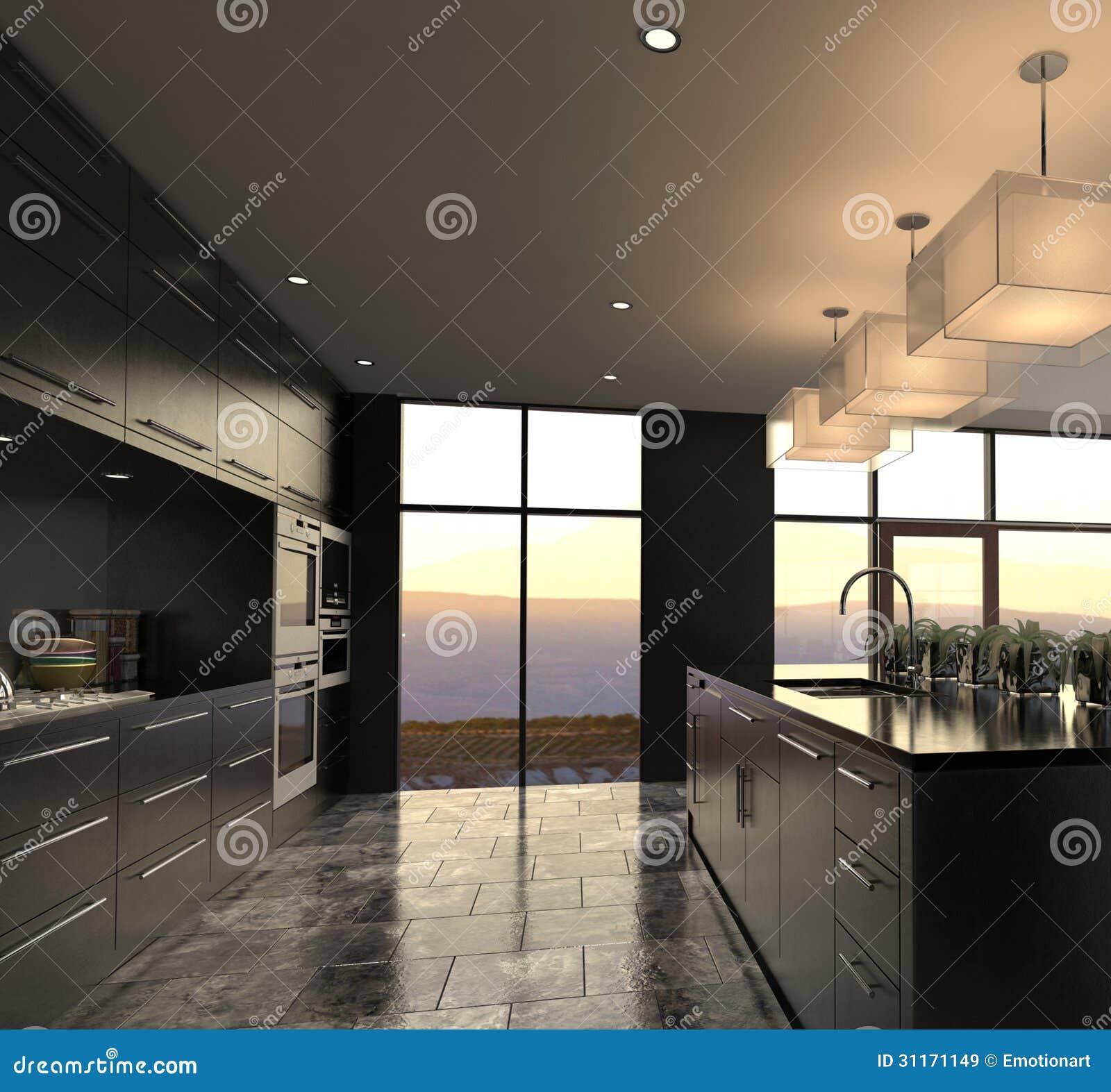 Uma rendição 3d do interior luxuoso da cozinha do projeto moderno. #85AB20 1300 1295
