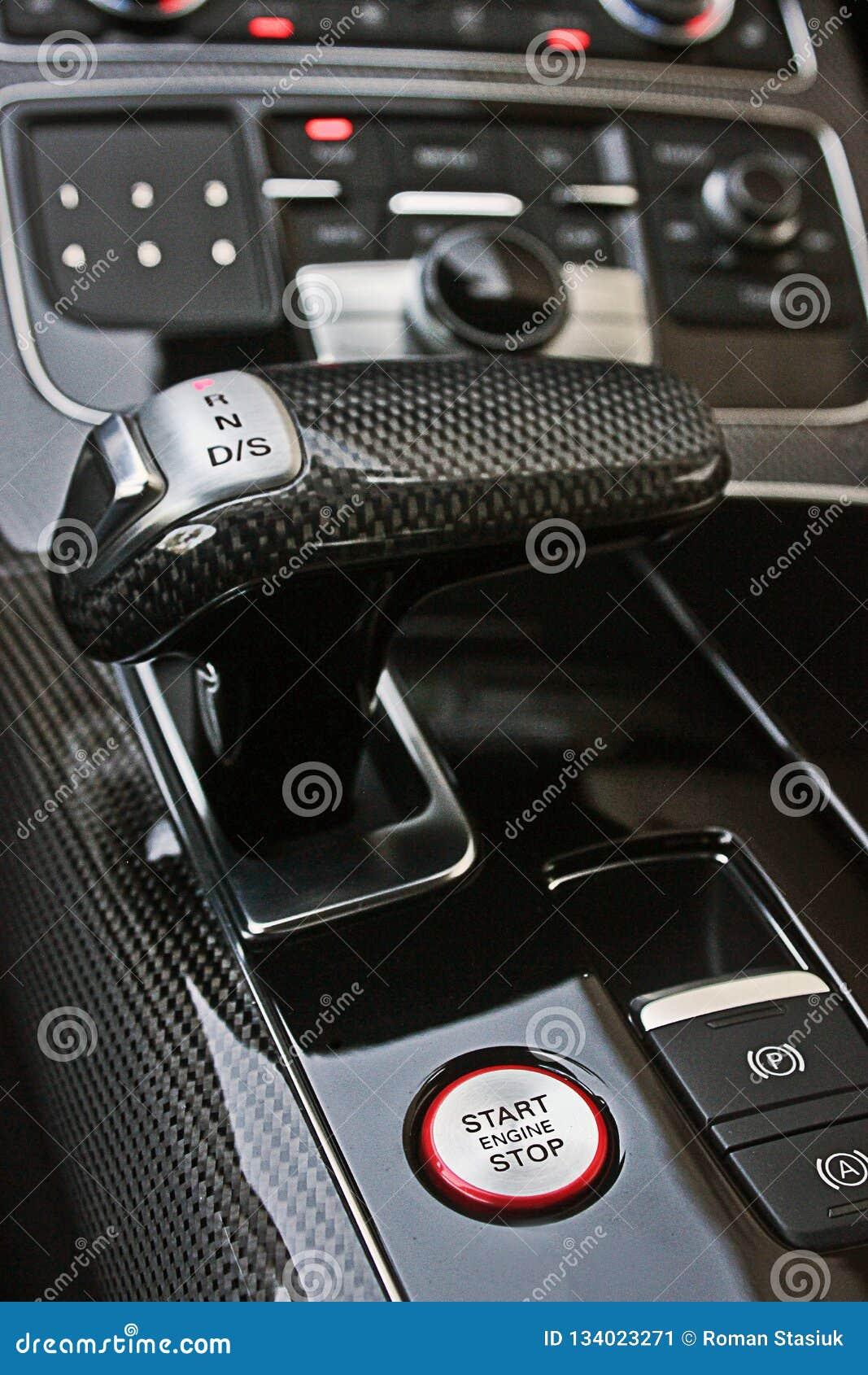Interior luxuoso escuro do carro ajustar Karbon Detalhe interior
