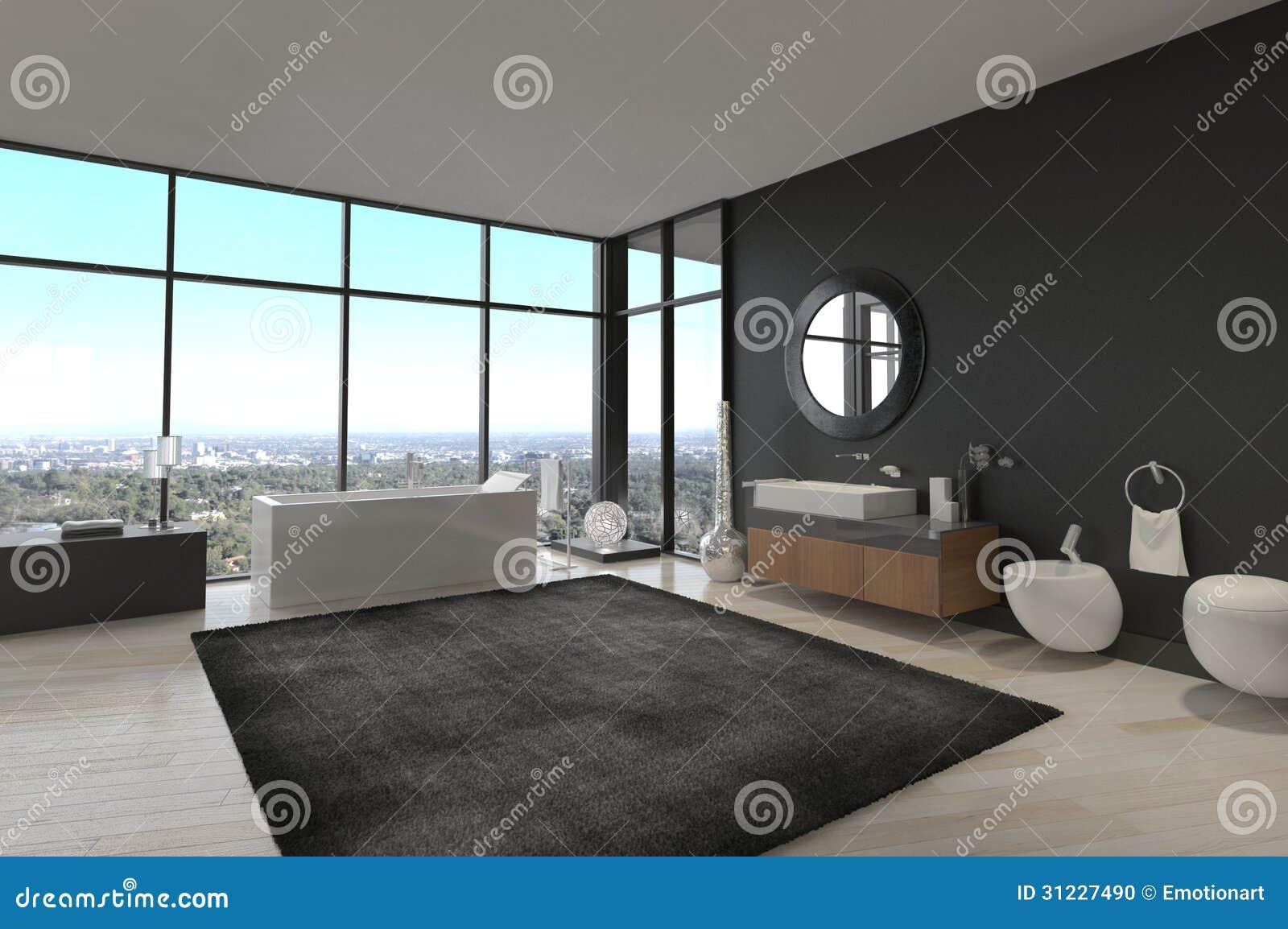 Banheiro Em Uma Sótão De Luxo Moderna Foto de Stock Imagem #83A427 1300 955