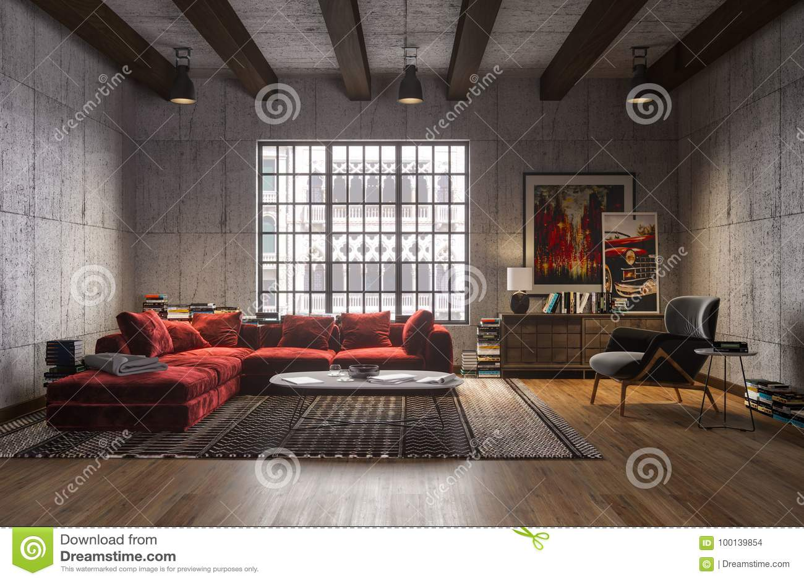 Interior luxuoso novo do sótão com o sofá vermelho de veludo