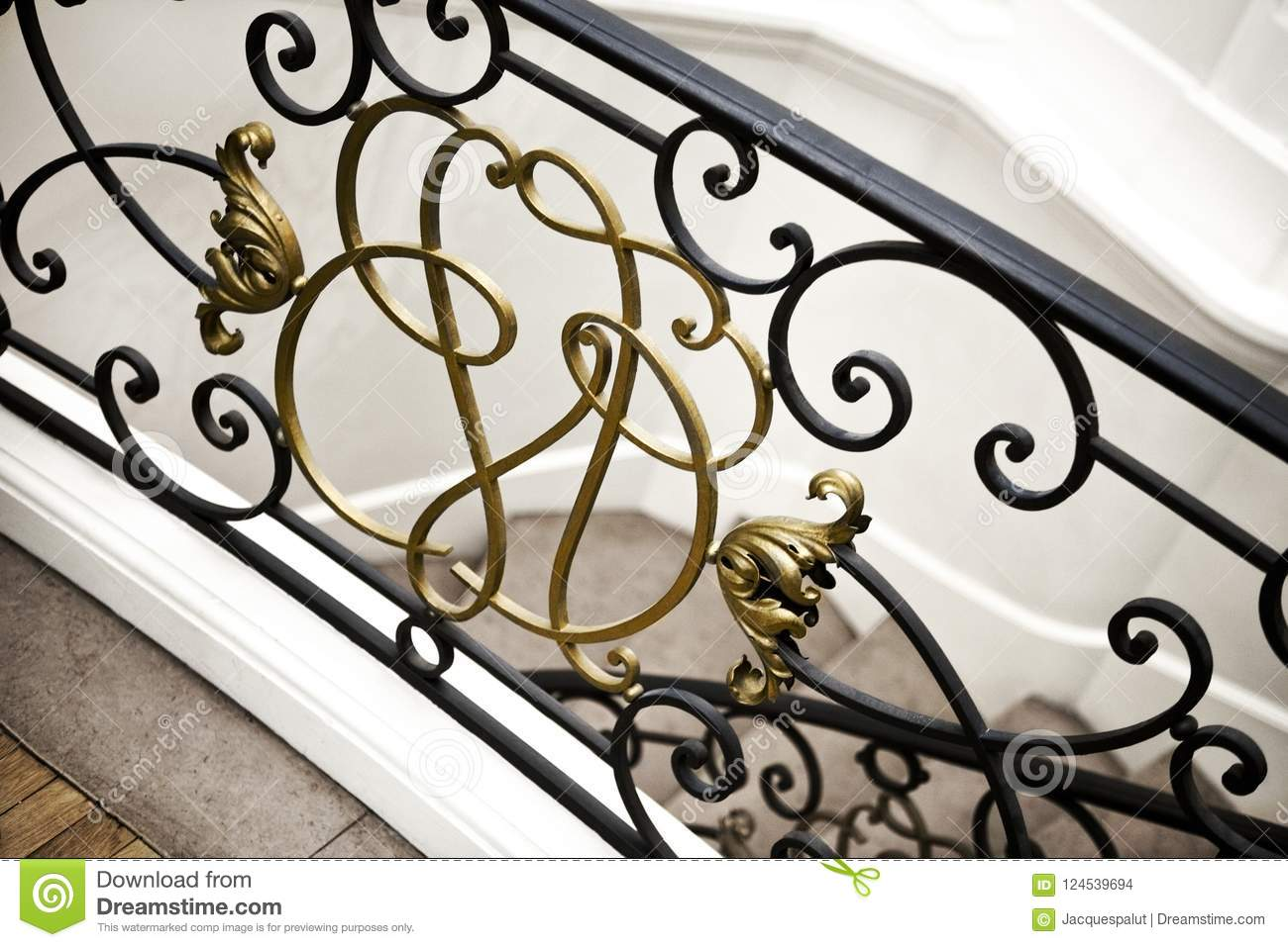 Download Stair Railing Inside A House Stock Photo   Image Of Railing,  Interior: 124539694