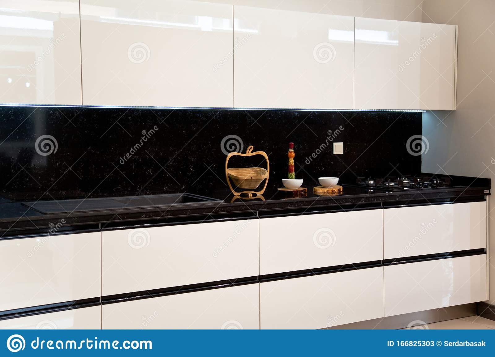 Interior Of Luxurious Modern Kitchen White Cabinets Stock Image Image Of Ceramic Home 166825303
