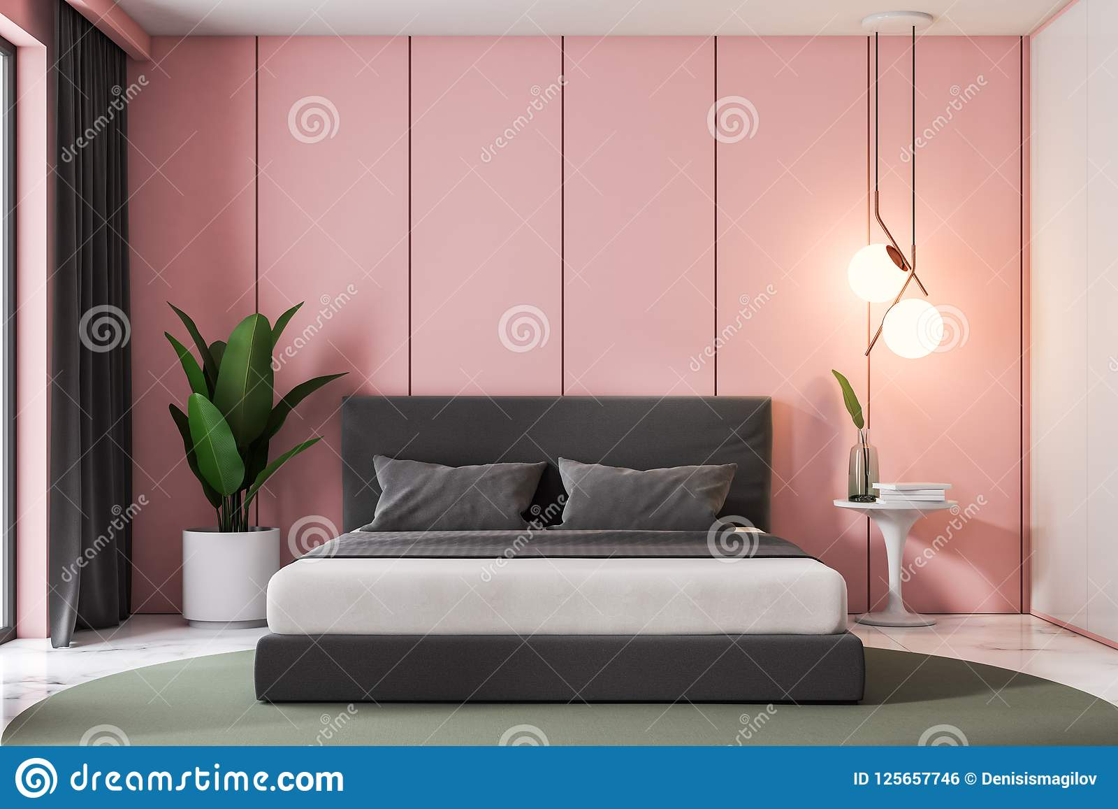 pink bedroom interior double bed stock illustration illustration rh dreamstime com