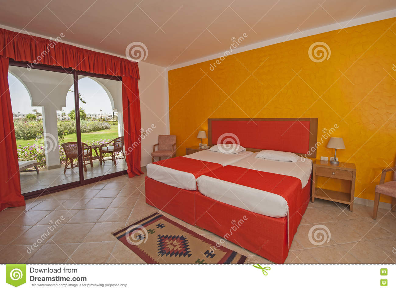 Interior of a luxury hotel bedroom with balcony stock for Interior design bedroom with balcony
