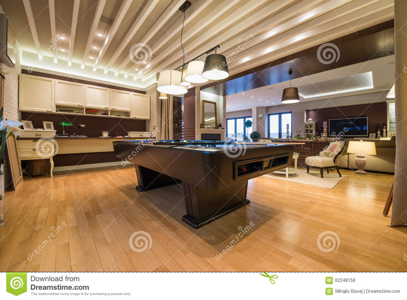 Interior Of A Luxury Living Room With Pool Table Stock ...