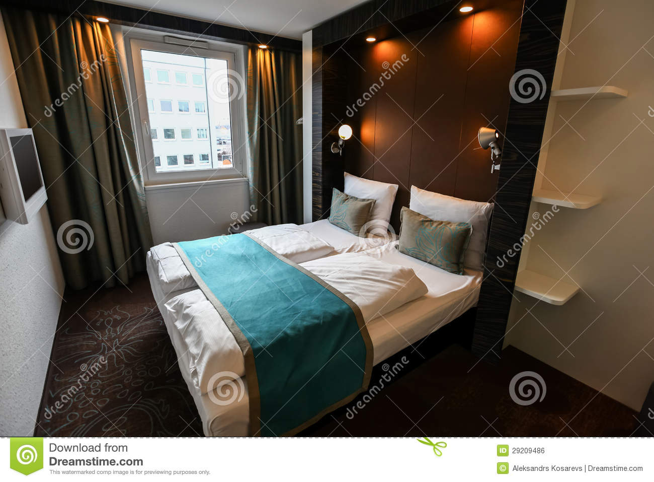 Modern hotel room interior stock photo image 18197840 - Bed Double Flat Hotel Interior Luxury Modern Room