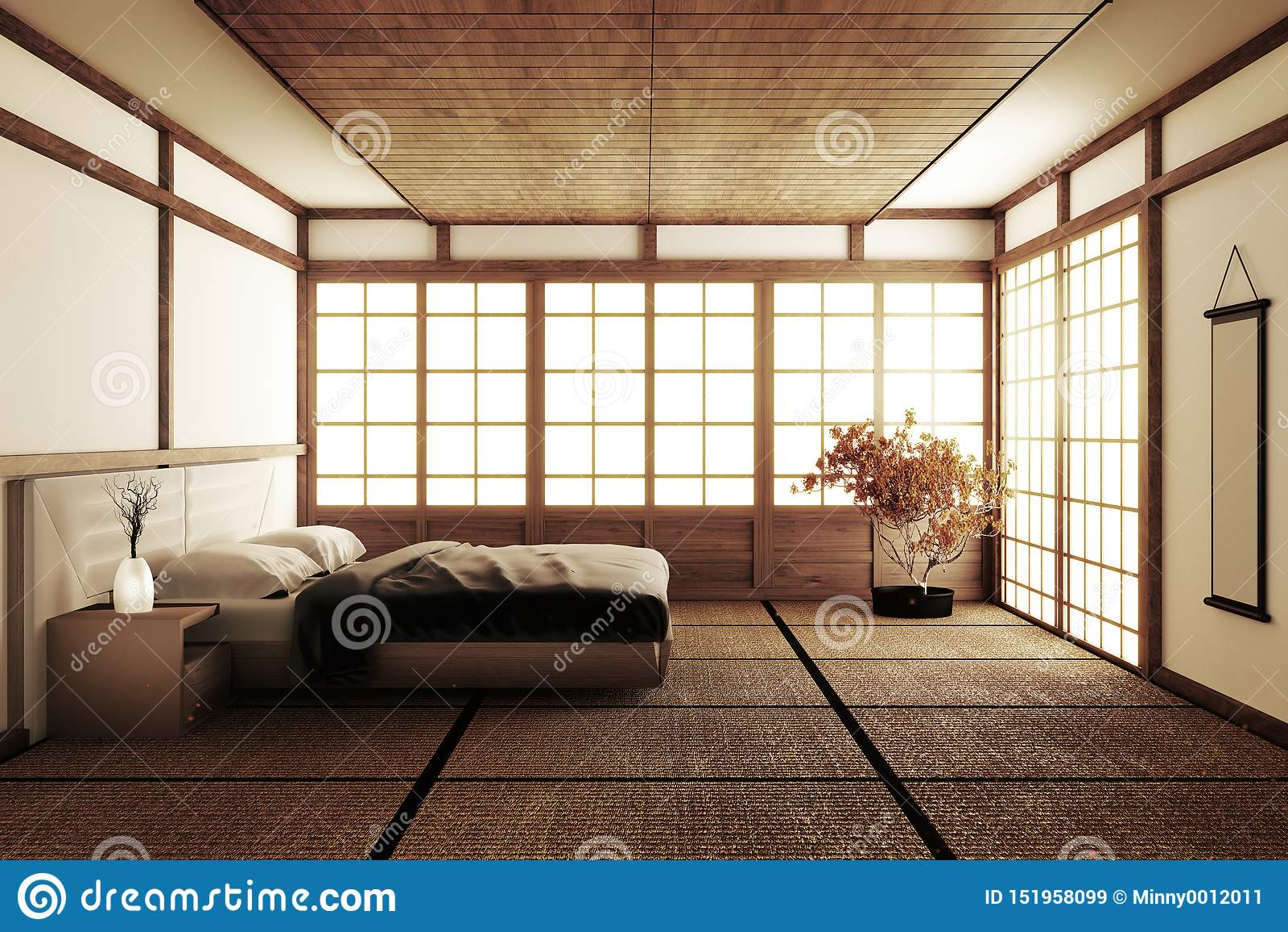 Interior Luxury Modern Japanese Style Bedroom Mock Up ...