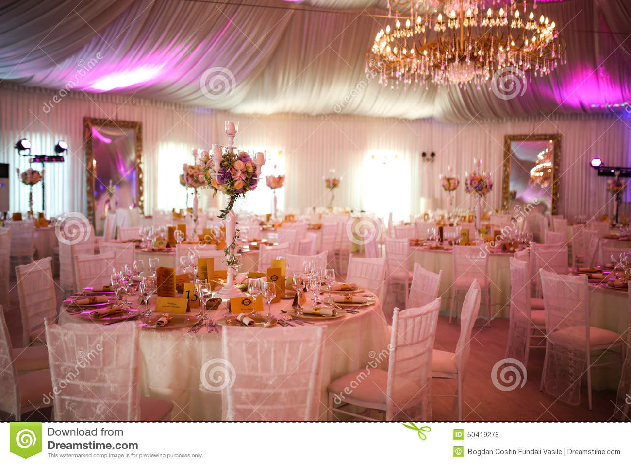 interior of a luxury white wedding tent decoration ready for guests stock photo image 50419278