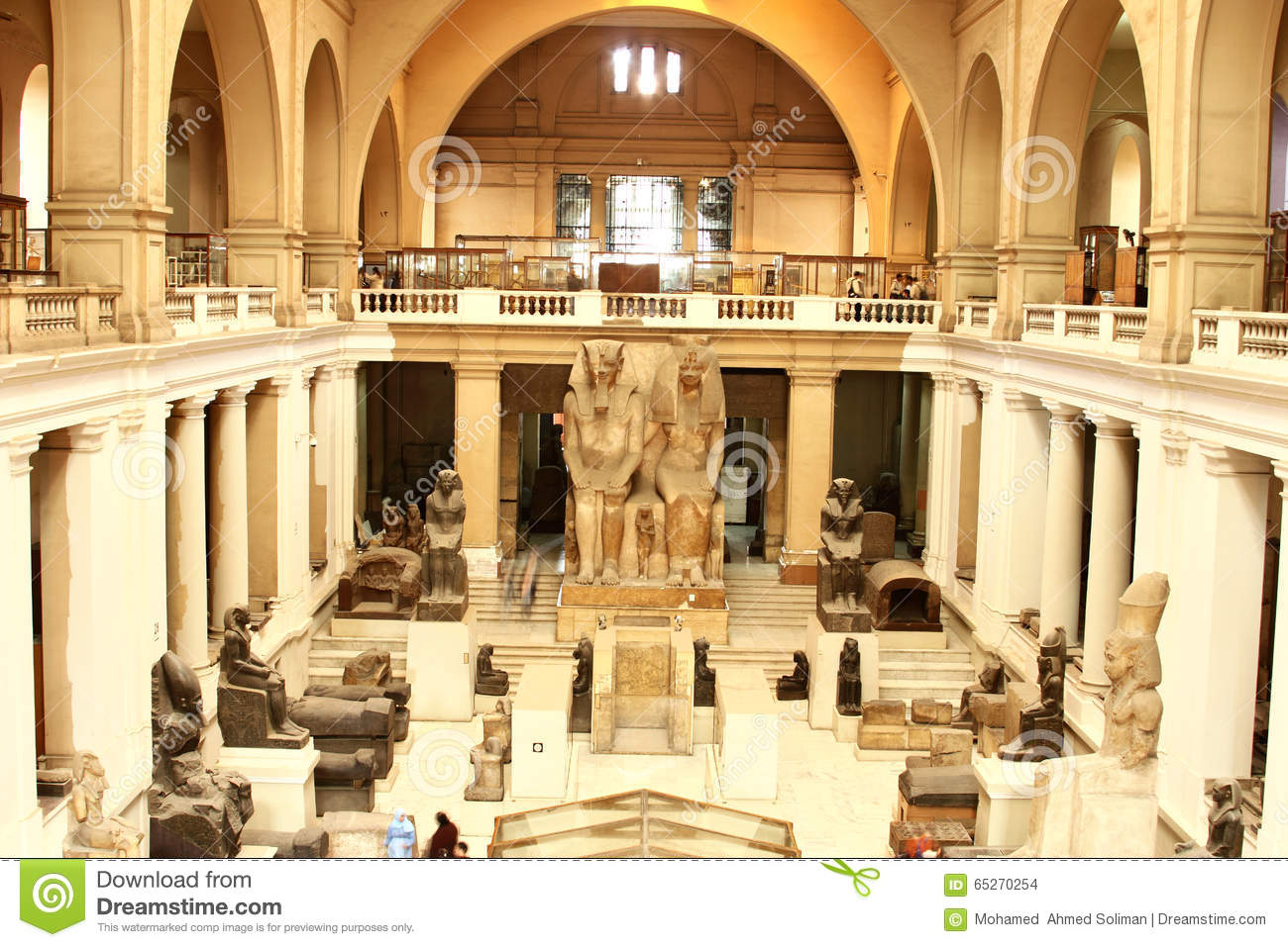 interior of the main hall, the museum of egyptian antiquities