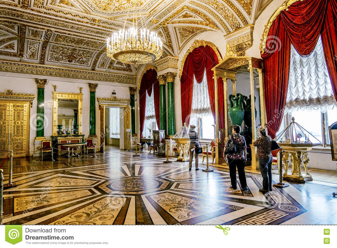 The Interior Of The Malachite Room In The Hermitage Museum