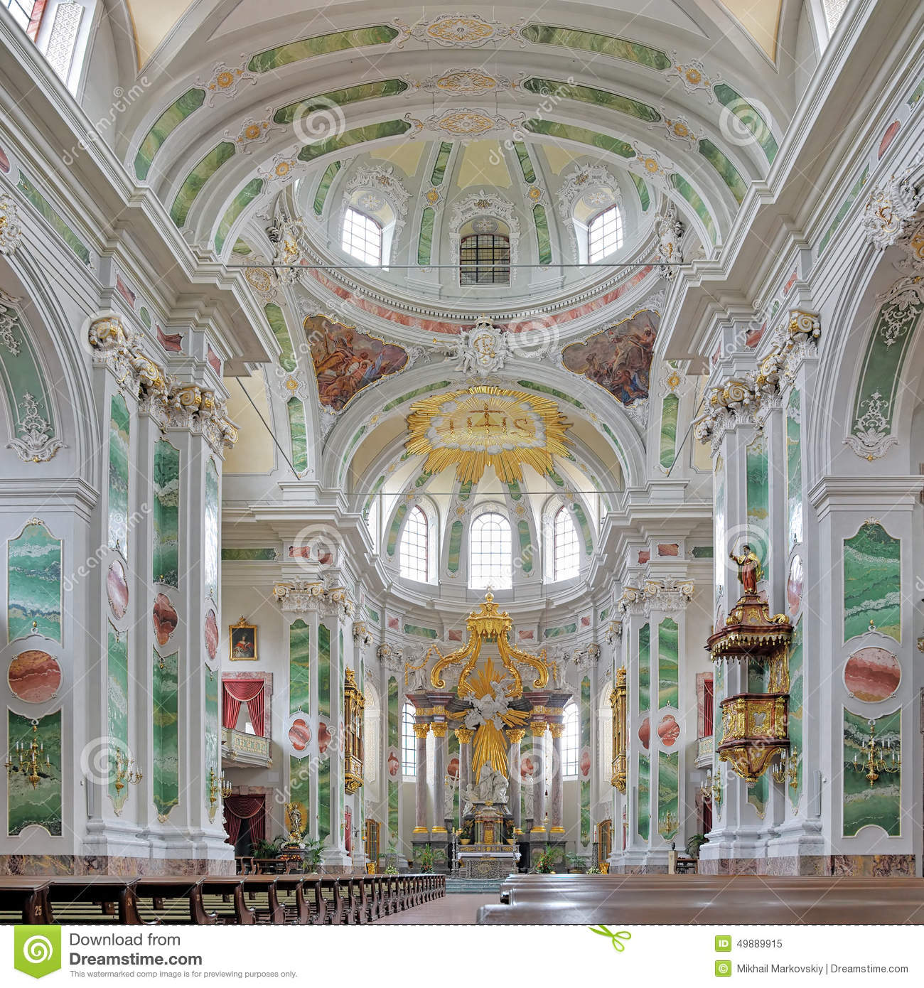 Interior Of Mannheim Jesuit Church Germany Editorial