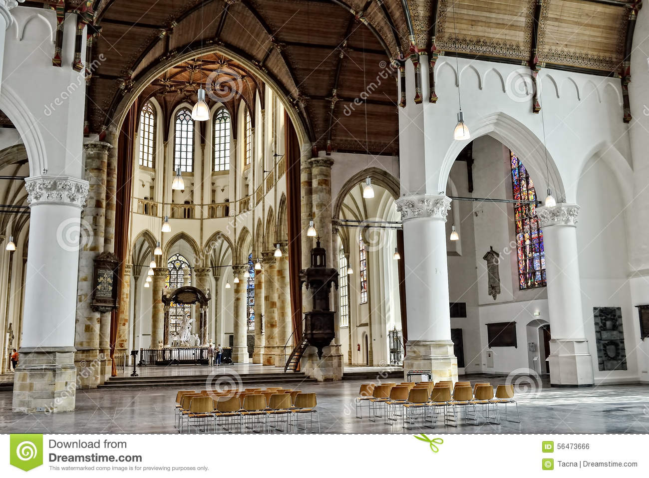 Interior With Marble Statues In Grote Kerk Den Haag Stock Photo ...