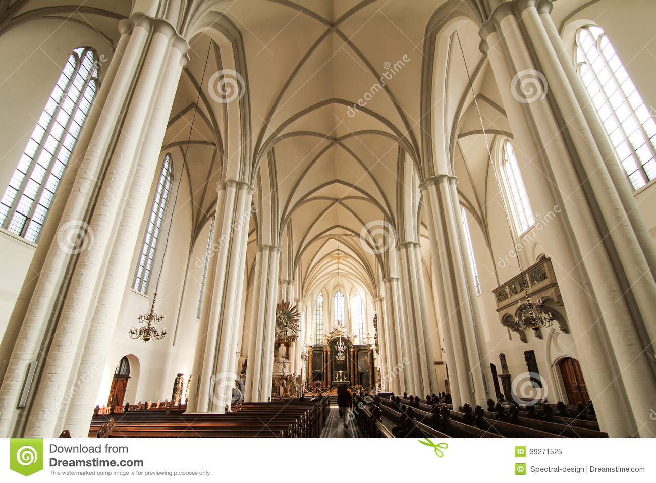 Interior Of The Marienkirche In Berlin Germany Stock