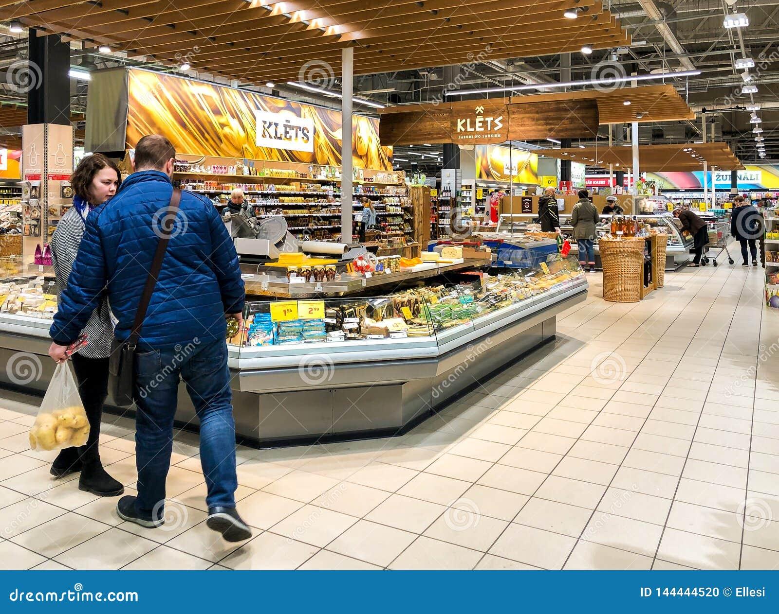 Interior Of A Maxima Food Supermarket In Riga, Latvia