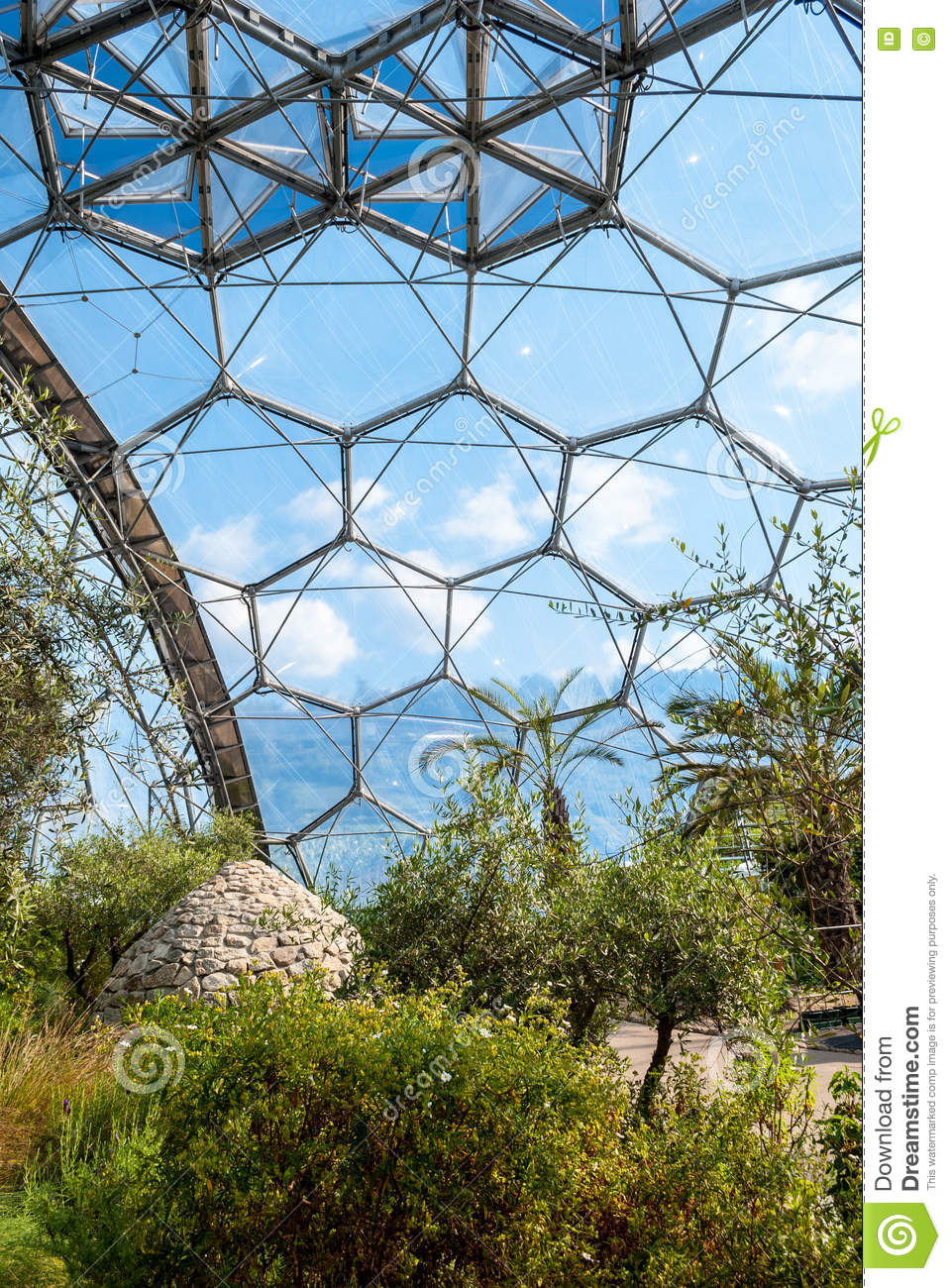 Interior Of Mediterranean Biome Eden Project Cornwall UK Showing Hexagonal Structure Dome