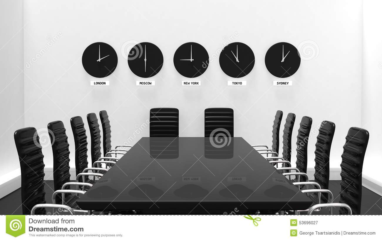 Interior Of A Meeting Room With World Clocks Stock